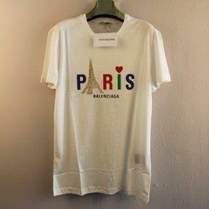 Balenciaga Paris White Casual T-Shirt